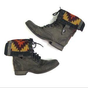 Steve Madden Chevie Aztec Combat Boots Size 7